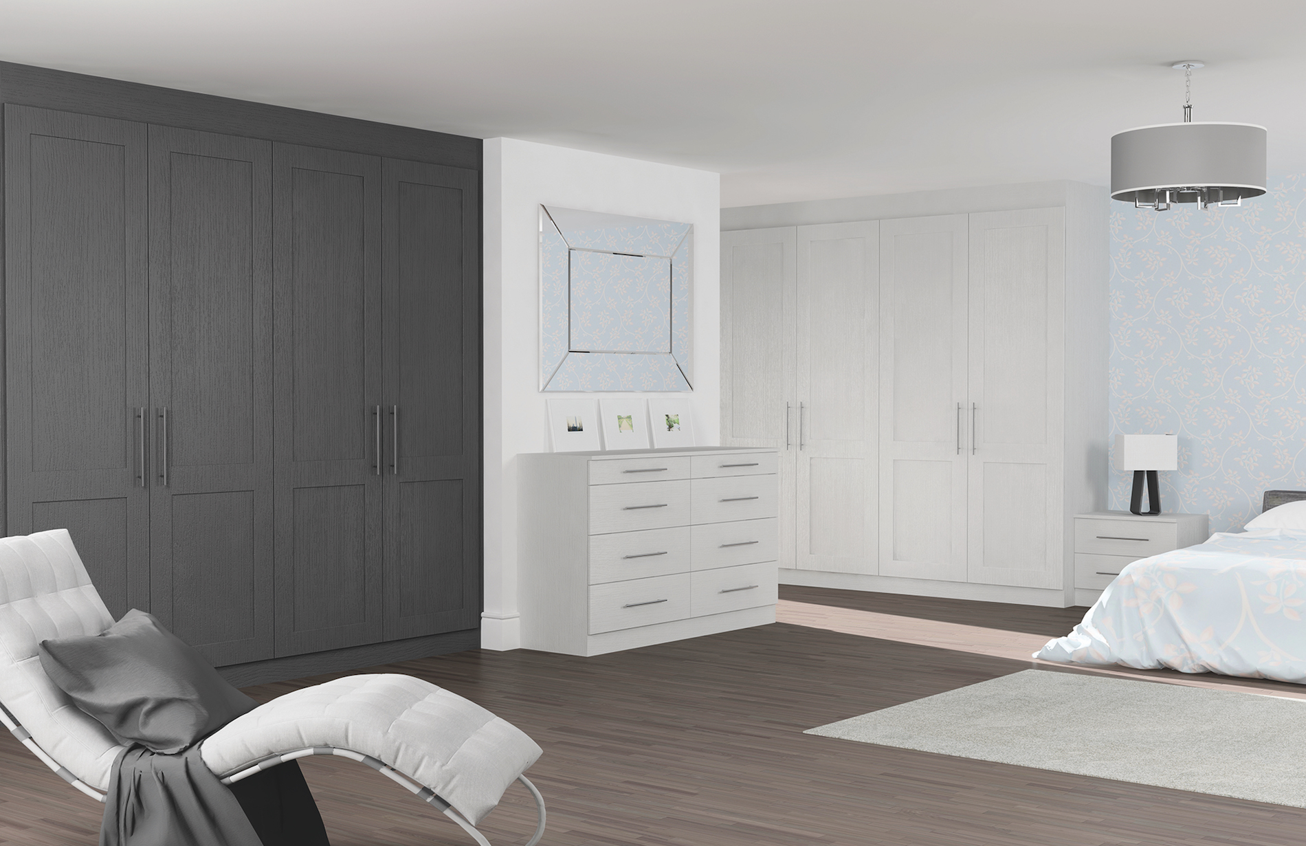 TKC Coniston Matfen Bedroom - Light Grey & Graphite Oak